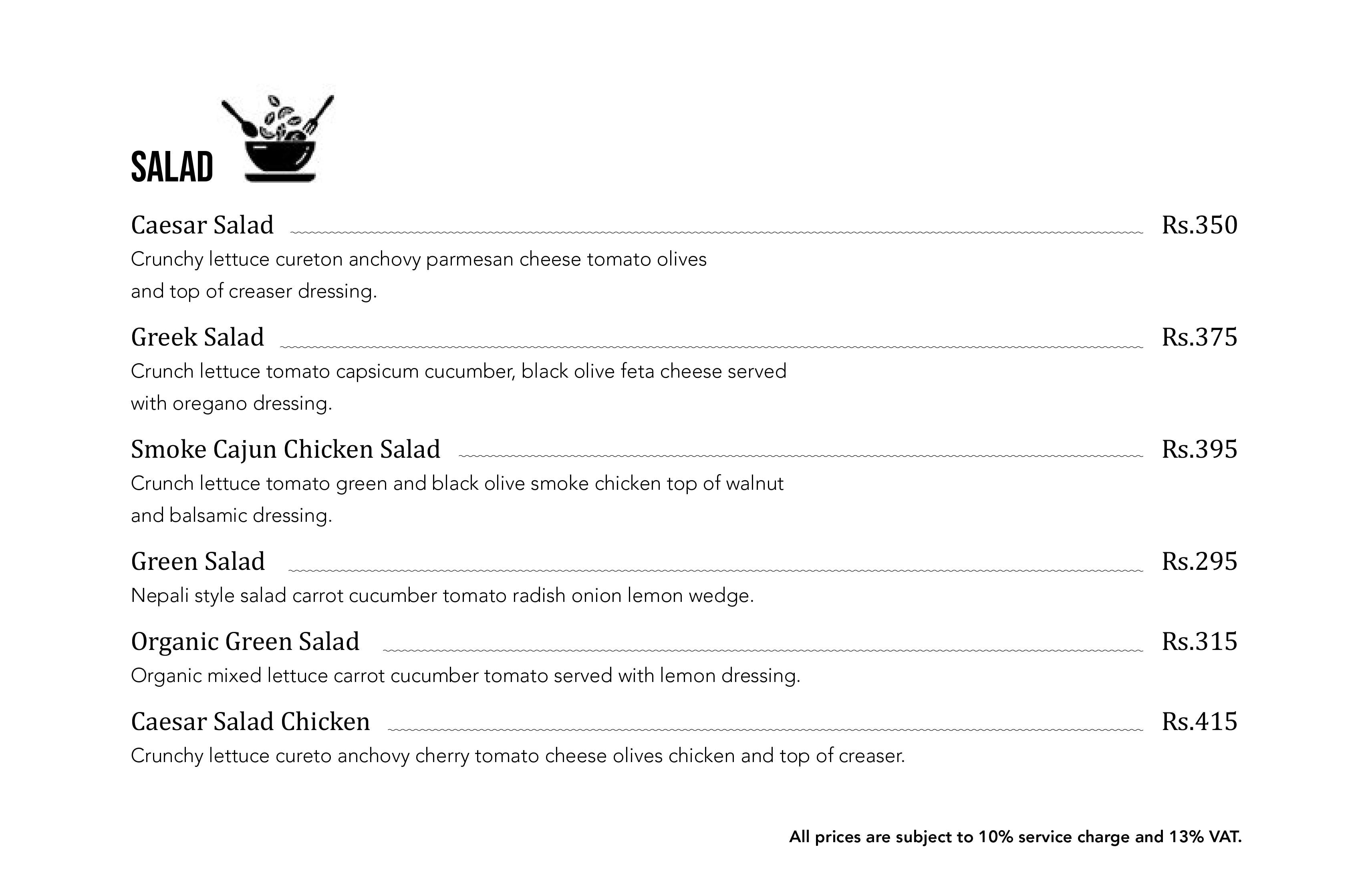Salad Menu of Arushi Boutique Hotel