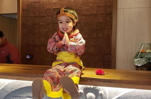 Arushi Posing Namaste at Arushi Boutique Hotel