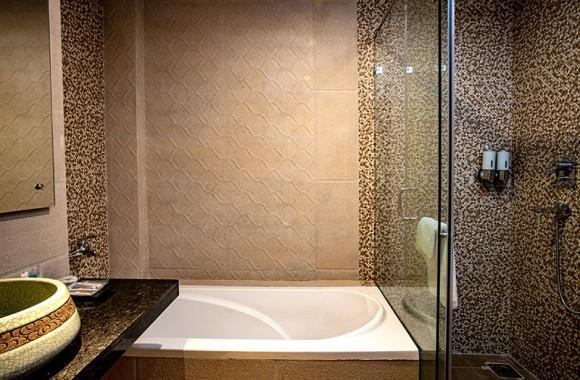 Bathtub and bathroom view