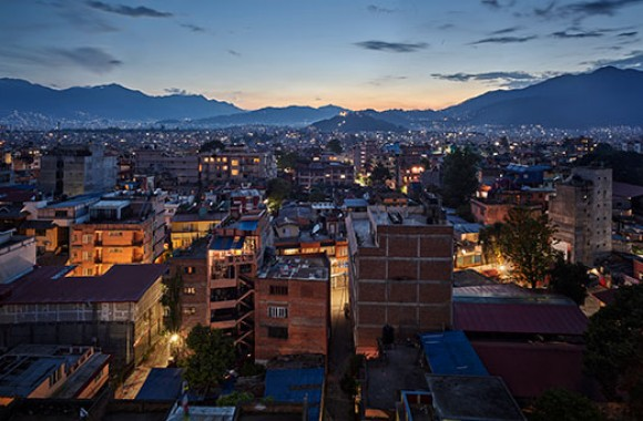 evening skyline view of Kathmandu city